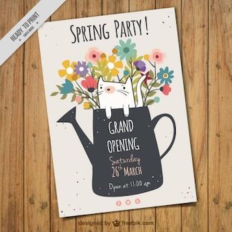 Frühlings-Party-Flyer mit Gießkanne
