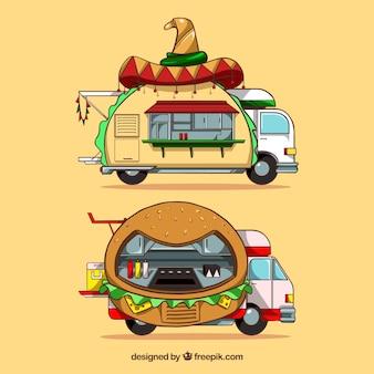 Fun Food Trucks mit Hand gezeichneten Stil