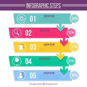 Fun Infografische Vorlage mit flachem Design