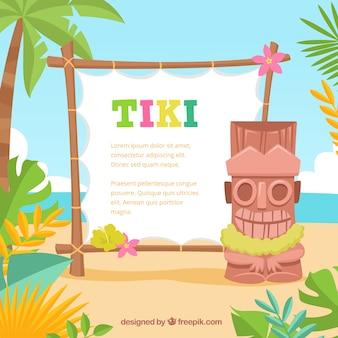 Fun Tiki Totem mit Poster am Strand