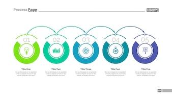 Fünf Schritte der Entwicklung Folie Vorlage. Geschäftsdaten graph, diagramm, entwurf. kreatives Konzept für infografische, Projekt. kann für Themen wie Lösung, System der Organisation, Planung verwendet werden