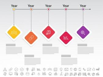Fünf Schritte, Timeline Infografics Layout mit Icons Set, in Schwarz-Weiß-Version.