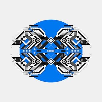Futuristisches Design auf blauem Oval