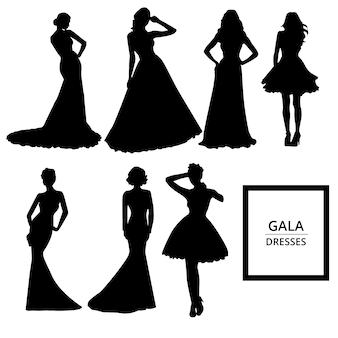 Gala kleidet Silhouetten