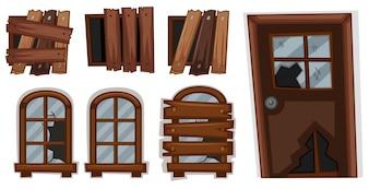 Gebrochene Fenster und Tür