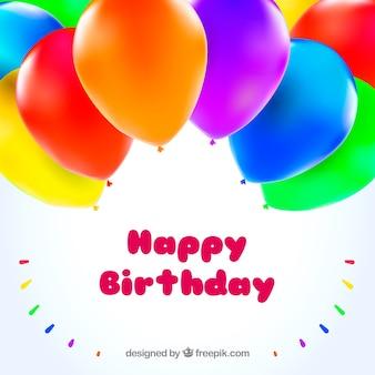 Geburtstag Hintergrund der farbigen Ballons