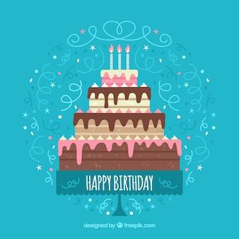 Geburtstag Hintergrund mit großen Kuchen