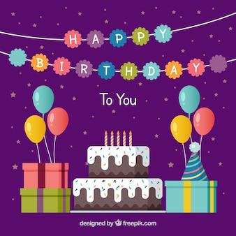 Geburtstag Hintergrund mit Kuchen und Geschenke in flachen Design