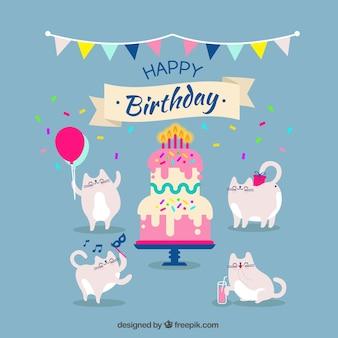 Geburtstag Hintergrund mit lustigen Katzen