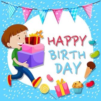 Geburtstags-Kartenschablone mit Jungen und Geschenken