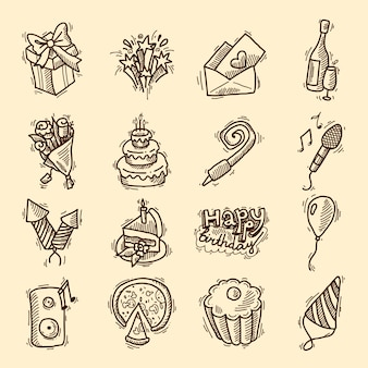 Geburtstagsfeier Feier Skizze dekorative Elemente mit Kuchen Geschenke Champagner Glas isoliert Vektor-Illustration