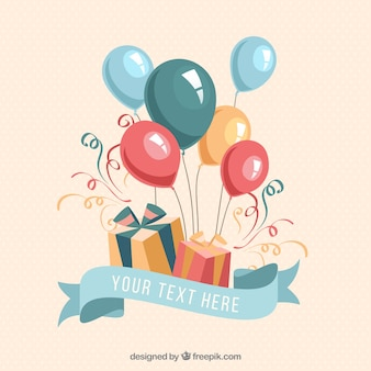 Geburtstagsgeschenke und Luftballons