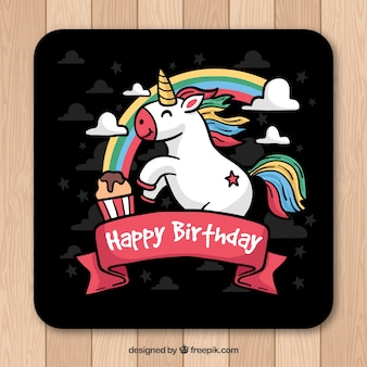 Geburtstagskarte mit handgezeichneten Einhorn