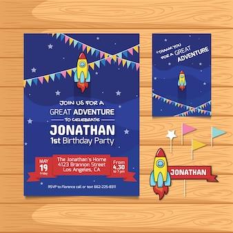 Geburtstagskarte mit Raketenentwurf