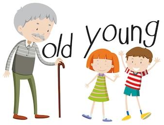 Gegenüber Adjektiven alt und jung