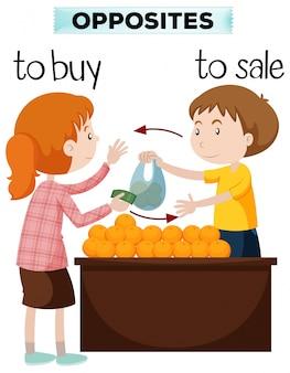 Gegenüber Worte für Kauf und Verkauf