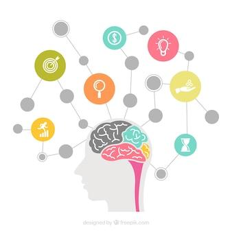 Gehirnschema mit Kreisen und Ikonen