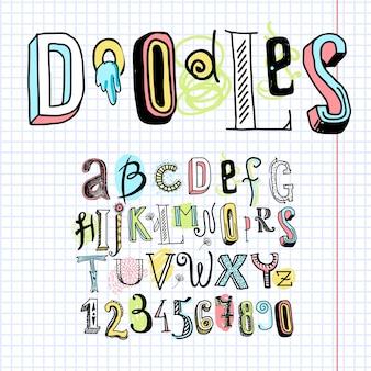 Gekritzel Alphabet Schriftart Notizbuch