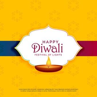 Gelber glücklicher diwali grußkartenentwurf mit diya
