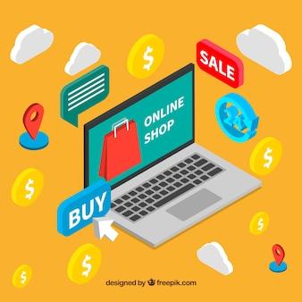 Gelber Hintergrund mit isometrischen Elementen der Online-Shopping