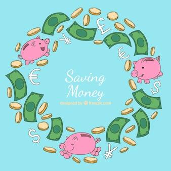 Geld sparen Hintergrund mit niedlichen Sparschweine