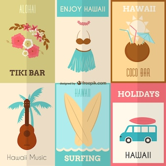 Genießen hawaii Vektor-Set