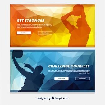 Geometrische Banner mit Basketball-Spieler-Silhouetten