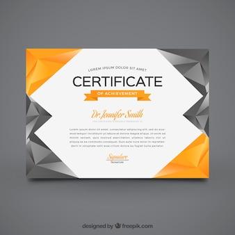 Geometrisches Abschlusszeugnis mit grau und orange Formen