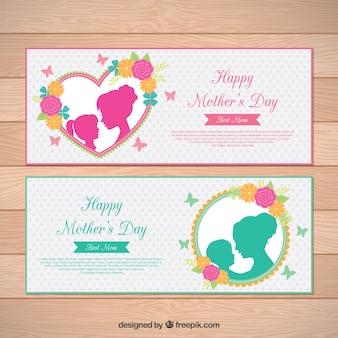 Gepunktete Banner mit Blumen und Silhouetten für Muttertag