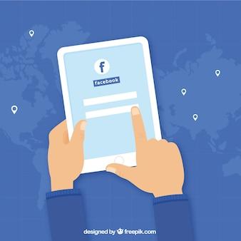 Geräte Hintergrund mit Facebook Login