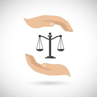 Gerechtigkeit, zwei Hände und ein Gleichgewicht