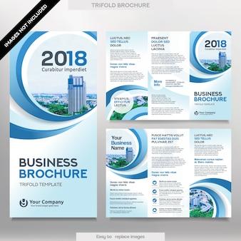 Geschäftsbroschürenschablone im dreifachgefalteten Plan. Corporate Design Leaflet mit austauschbaren Bildern.