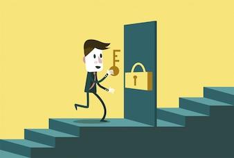 Geschäftscharakter, der eine Tür öffnet