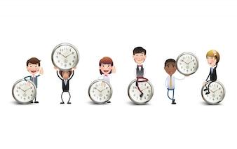 Geschäftsfiguren mit Uhrensammlung