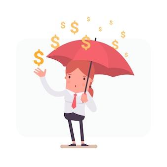 Geschäftsfrau hält einen Regenschirm