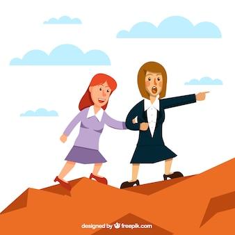 Geschäftsfrau hilft ihrem Kollegen