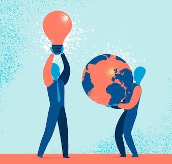 Geschäftsleute halten Glühbirne und Erde Globus