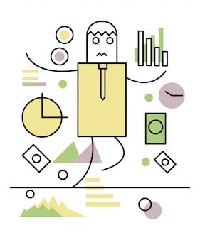 Geschäftsmann balanciert auf einem Seil. Geschäfts- und Investitionskonzept. flache Linie Abbildung. Vektor