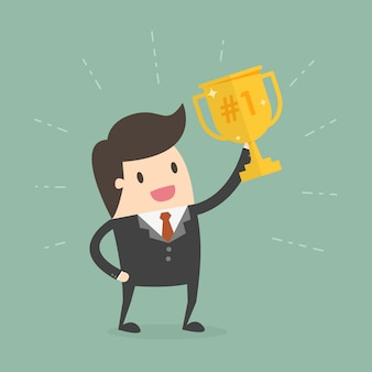 Geschäftsmann mit Champion Cup