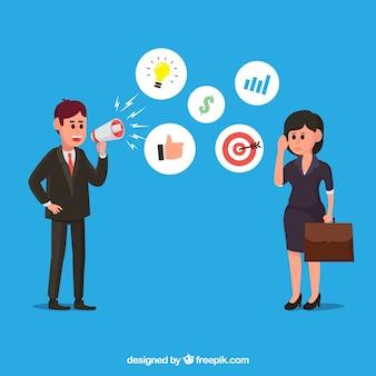 Geschäftspartner mit Icons