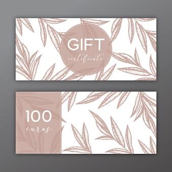 Geschenkgutschein mit handgezeichneten Abbildungen