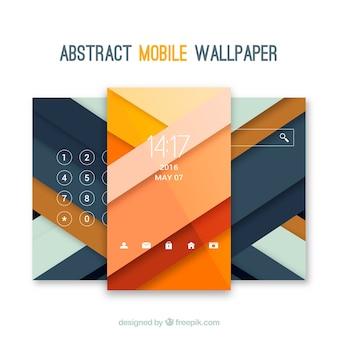 Gestreifte mobile Tapeten in flachem Design