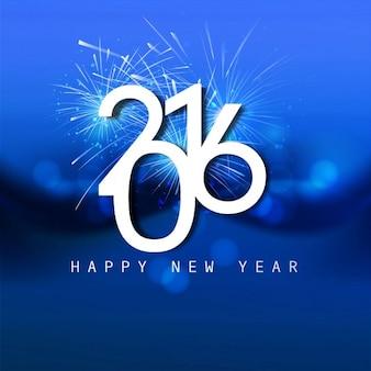 Glänzende blaue neue Jahr 2016 Karte