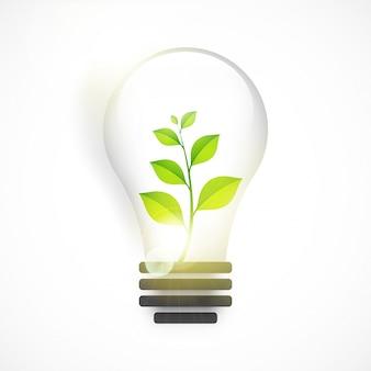 Glänzende Glühbirne mit grüner Pflanze für Save Nature.