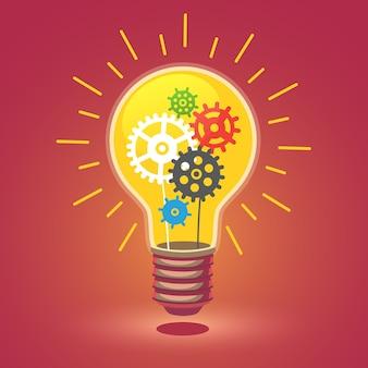 Glänzende helle Idee Glühbirne mit Zahnrädern
