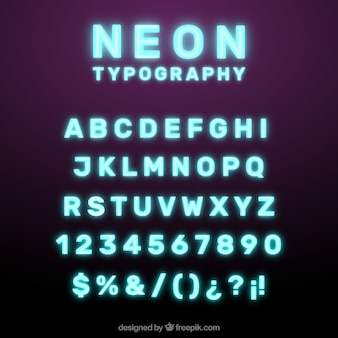 Glänzende Neon Typographie