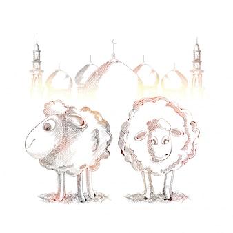 Glänzende Skizze von Ziegen und Moschee für Eid-Al-Adha.