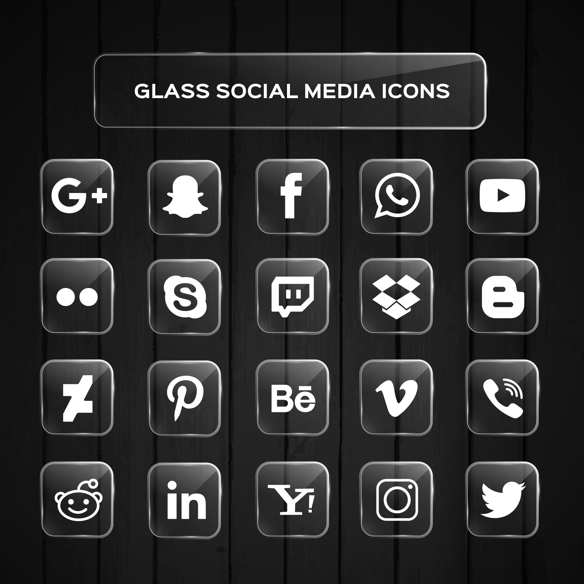 Glass Social Media Icons