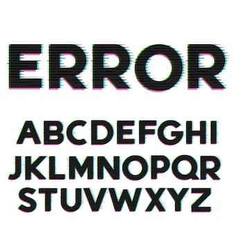 Glitch und Fehler Stil Schriftart und Alphabet Design
