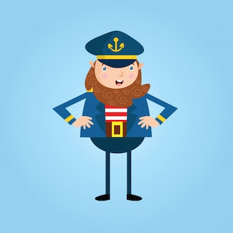 Glücklich bärtiger Mann Seemann Matrose Seemann Marine Cartoon-Figur